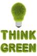 light bulb with green grass texture