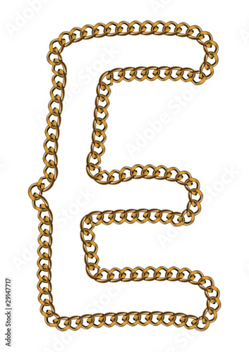 Like Golden Chain Isolated Alphabet Letter E