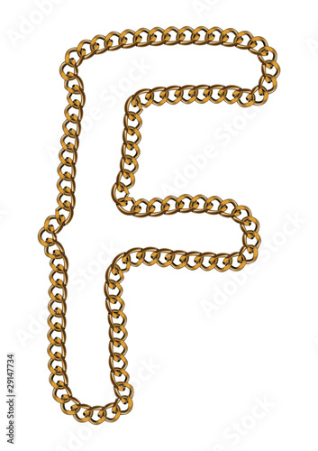 Like Golden Chain Isolated Alphabet Letter F