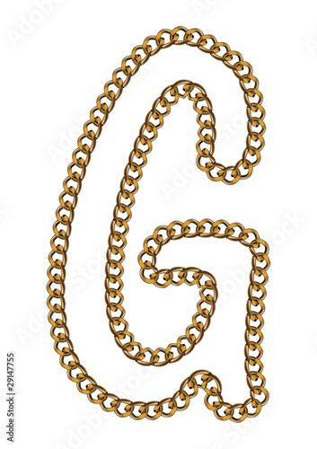 Like Golden Chain Isolated Alphabet Letter G