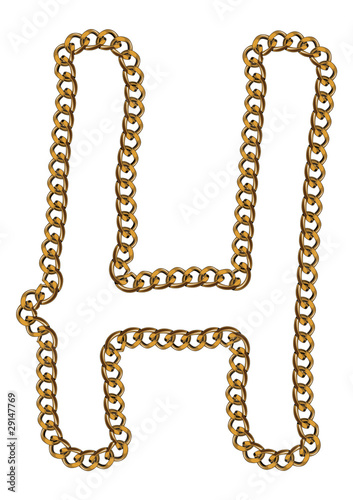 Like Golden Chain Isolated Alphabet Letter H