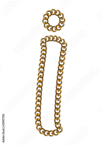 Like Golden Chain Isolated Alphabet Lover Case Letter I