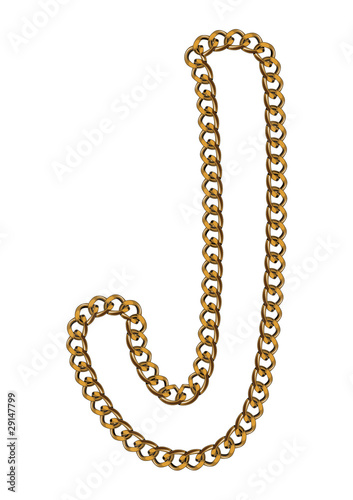 Like Golden Chain Isolated Alphabet Letter J