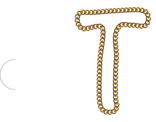 Like Golden Chain Isolated Alphabet Letter T