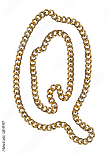 Like Golden Chain Isolated Alphabet Letter Q