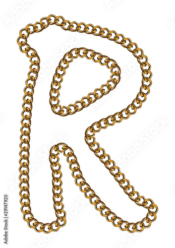 Like Golden Chain Isolated Alphabet Letter R