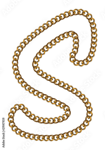 Like Golden Chain Isolated Alphabet Letter S