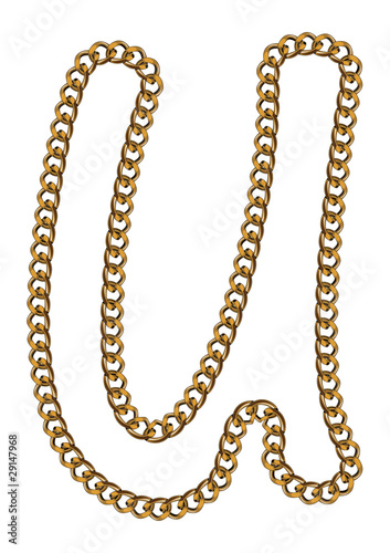 Like Golden Chain Isolated Alphabet Lover Case Letter U