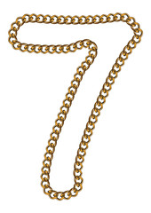 Like Golden Chain Isolated Alphabet Number Seven