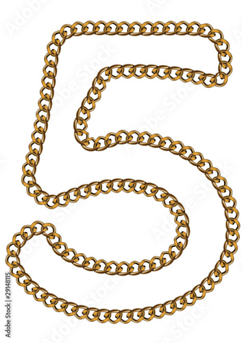 Like Golden Chain Isolated Alphabet Number Five