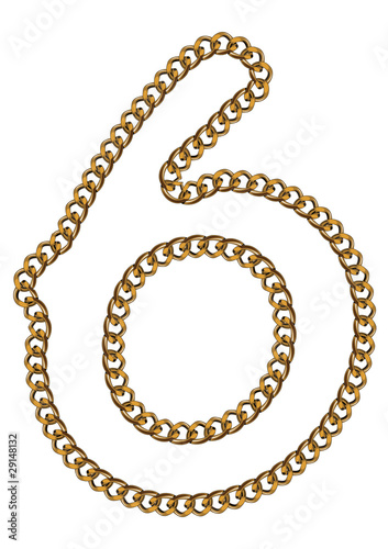Like Golden Chain Isolated Alphabet Number Six