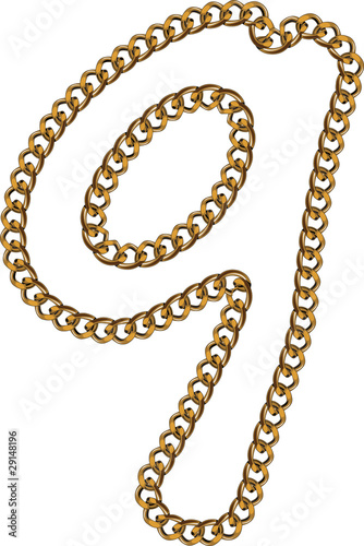 Like Golden Chain Isolated Alphabet Number Nine