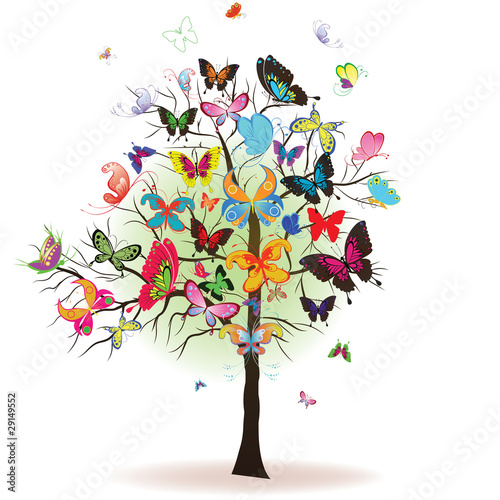 Tree with butterfly, element for design, vector illustration - 29149552