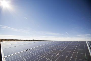 Solar panels with sun overhead