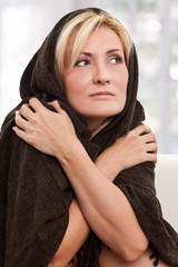 Beautiful woman feels cold