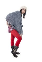 young asian woman  in knitted poncho