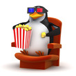 Penguin likes popcorn at the 3d cinema