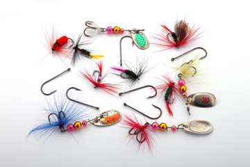 Fishing lures and hooks used by fishermen to catch fish.