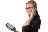 frau mit telefon und ebook reader poster
