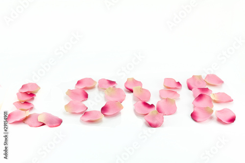 'love' written with rose-petals