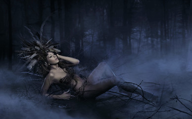 Naked forest nymph