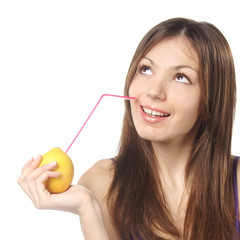 woman drinking fresh lemon juice