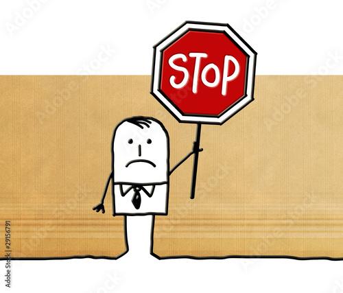 man & stop