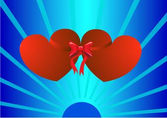 Valentine tied ribbon
