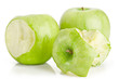 One whole and two bited green apples fruit on white
