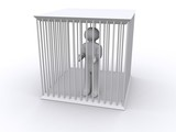 Caged white figure