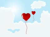Valentine heart balloons poster