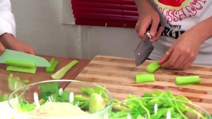 kids cutting vegetables