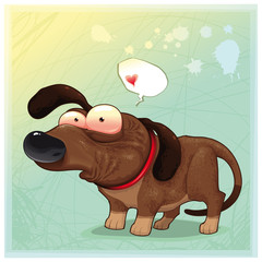 Funny dog with balloon. Vector illustration, isolated objects