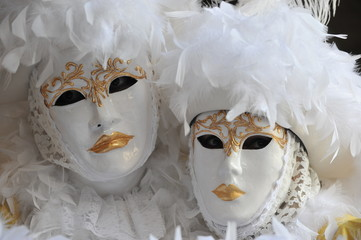White carnival masks in Venice, Italy.