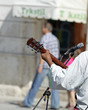 Street musician playing outdoors