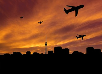 planes departing Berlin at sunset illustration