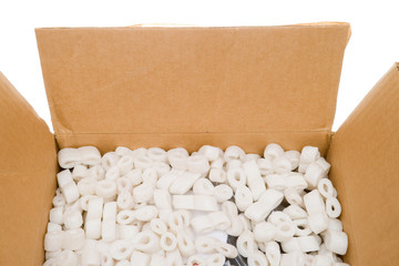 Looking into Box Styrofoam Packing Peanuts, Isolated Background