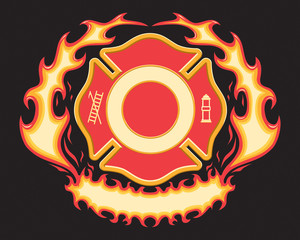 Firefighter Cross Symbol with Flaming Banner