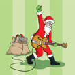 Santa Claus plays a rock and roll guitar