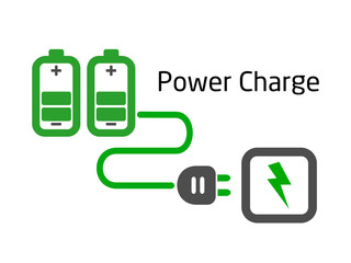 battery charge with plug vector