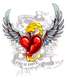 Burning heart with wings