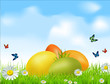 vector Easter eggs on a green field with daisies and a blue sky
