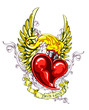 Burning heart with wings, ribbon and flourish pattern
