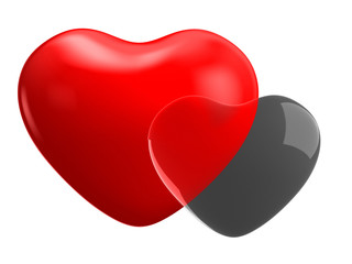 Pair of bright hearts on white background