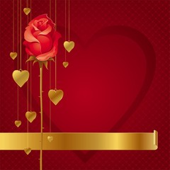 Valentines design with red rose & hanging golden hearts