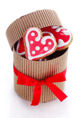 Heart-shaped biscuits for Valentine's Day in gift box
