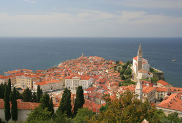 View at Piran in Slovenia at the Adriatic sea
