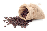 Fototapety Coffee beans in canvas sack on white background