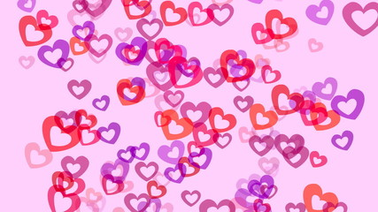 Animation of floating or flying throbbing hearts.