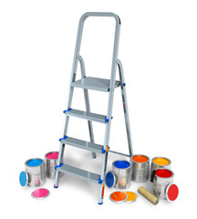 Stepladder with cans of color paint